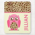 Giraffe Print & Pink Owl Personalized Mousepad