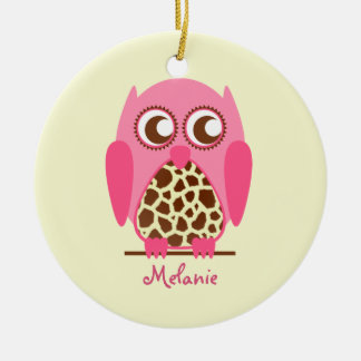 Giraffe Print & Pink Owl Personalized Ornament