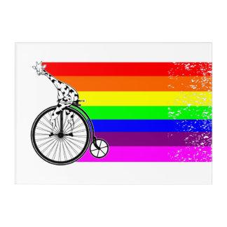 Giraffe Rainbow Bike Acrylic Wall Art
