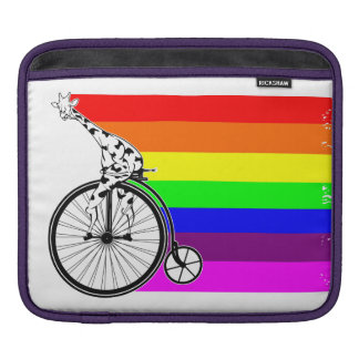 Giraffe Rainbow Bike iPad Sleeve