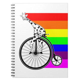 Giraffe Rainbow Bike Notebook