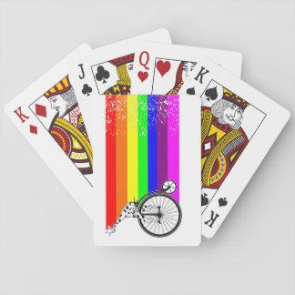 Giraffe Rainbow Bike Playing Cards