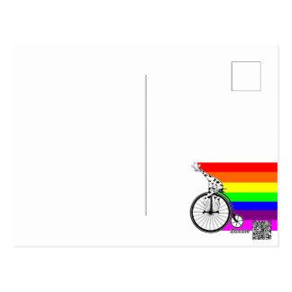 Giraffe Rainbow Bike Postcard