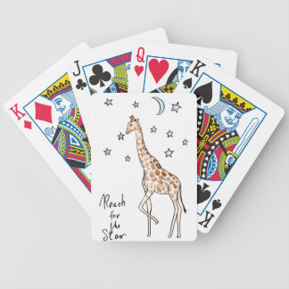 giraffe reach for the star bicycle playing cards