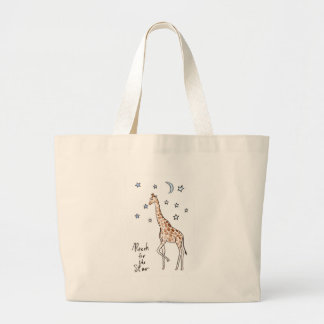 giraffe reach for the star large tote bag