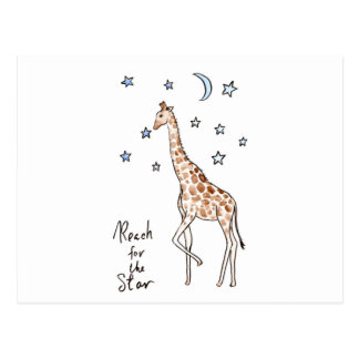 giraffe reach for the star postcard