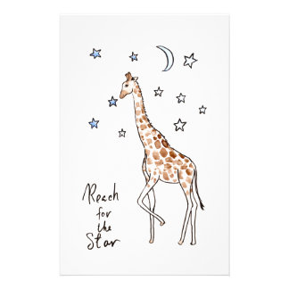 giraffe reach for the star stationery