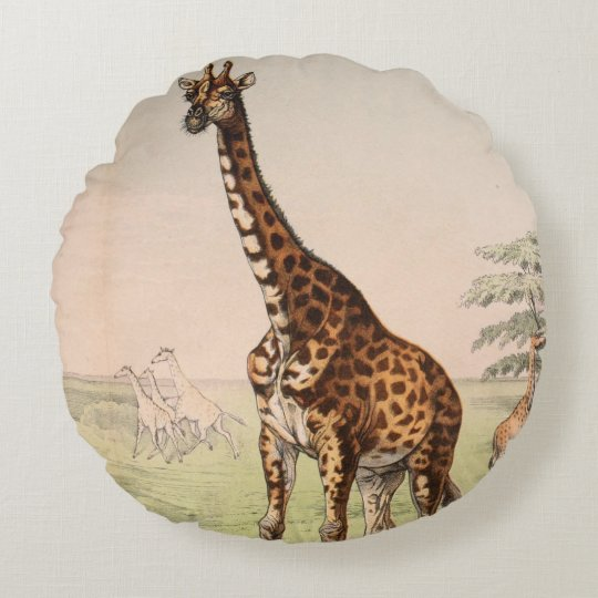 Giraffe reversible round pillow
