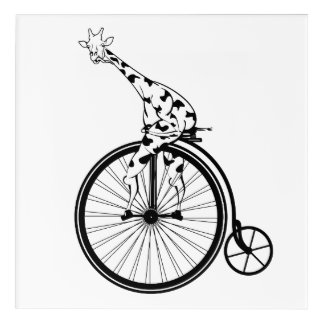 Giraffe riding a bike acrylic wall art