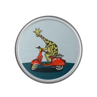 Giraffe riding a moped bluetooth speaker