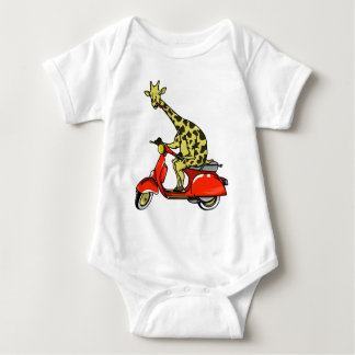 Giraffe riding a red scooter baby bodysuit