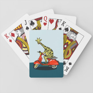 Giraffe riding a red scooter poker deck