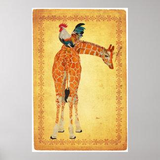 Giraffe & Rooster Art Poster