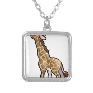 Giraffe Safari Animals Cartoon Character Silver Plated Necklace
