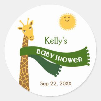 Giraffe Safari Baby Shower Favor Sticker