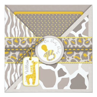 Giraffe Safari Pacifier Couples Baby Shower Card