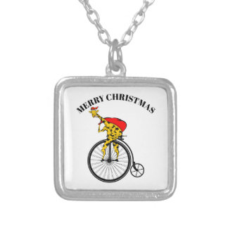 Giraffe Santa Claus Christmas Silver Plated Necklace