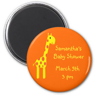 Giraffe Save The Date Baby Shower Orange & Yellow 2 Inch Round Magnet