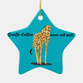 Giraffe Selfies Ceramic Star Ornament