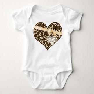 Giraffe Skin Pattern Ribbon Bow Baby Girl Creeper