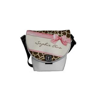 Giraffe Skin Pattern Ribbon n Bow Baby Girl Diaper Courier Bag