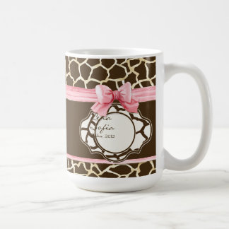 Giraffe Skin Pattern Ribbon n Bow Baby Girl Photo Coffee Mug