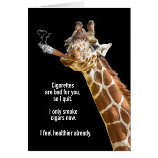 Giraffe Smoking Cigar Birthday Card