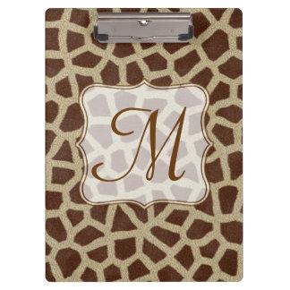 Giraffe Spot Animal Monogram Initial Clip Board Clipboards
