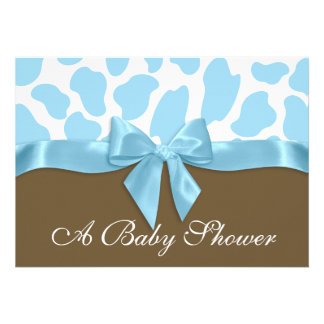 Giraffe Spots and Blue Bow Baby Shower Announcement