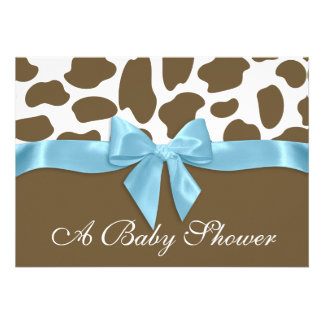 Giraffe Spots and Blue Bow Baby Shower Custom Announcement