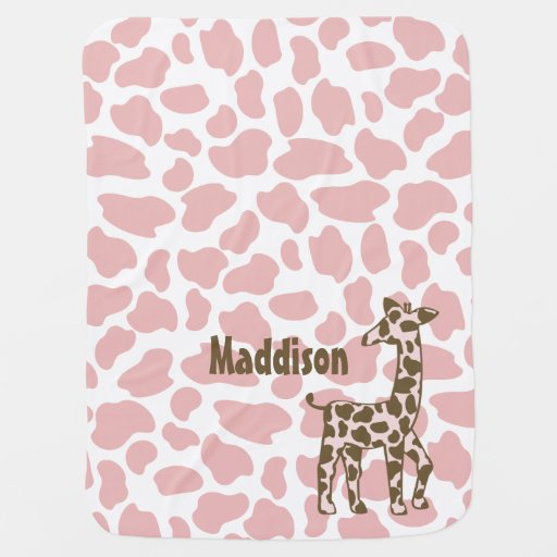 Giraffe Spots Pink and Brown Baby Blankets