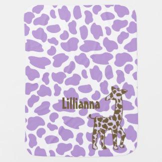 Giraffe Spots Purple and Brown Receiving Blankets