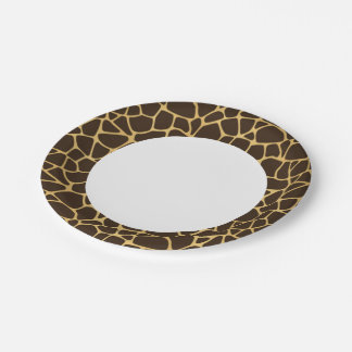 Giraffe Spotted Background Paper Plate