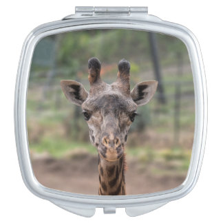 Giraffe square compact travel mirror