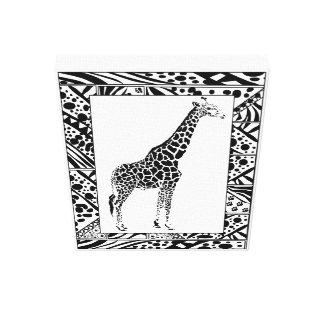 Giraffe study in African style framed border. Canvas Print