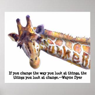 Giraffe Summer Quote Watercolor Poster Print