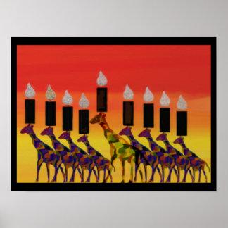 Giraffe Sunset Hannukah Menorah Print