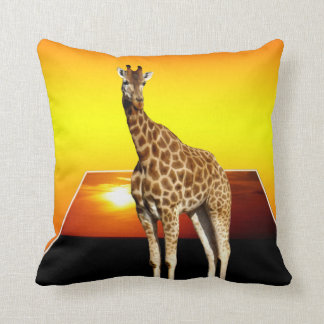 Giraffe Sunshine Popout Art Throw Cushion. Throw Pillow