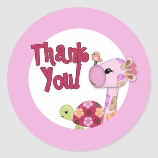 GIRAFFE Sweet Safari Baby Shower Thank You SST#4 Classic Round Sticker