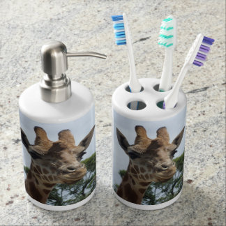 Giraffe Toothbrush Holder & Soap Dispenser Set