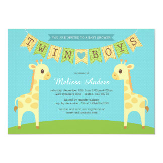 Giraffe Twin Boys Baby Shower Invitation