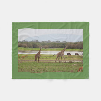 Giraffe Twins Cute Personalize Destiny Destiny'S Fleece Blanket