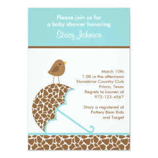 Giraffe Umbrella Baby Shower Invites (Teal)