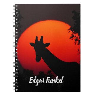 Giraffe versus Red Sun Notebook