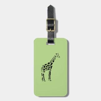 Giraffe Vintage Wood Engraving Luggage Tag