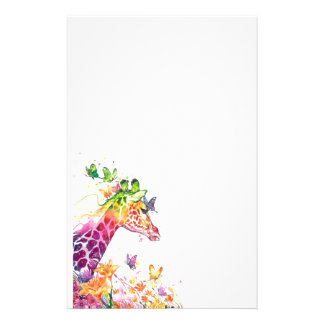 Giraffe watercolor stationery