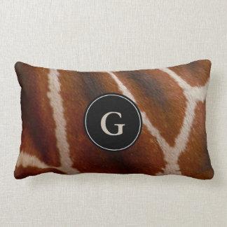 Giraffe Wild Animal Fur Pattern | Monogram Lumbar Lumbar Pillow
