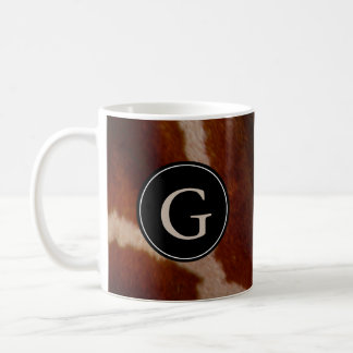 Giraffe Wild Animal Print Fur Pattern | Monogram Coffee Mug