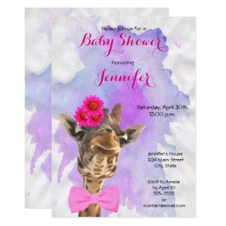 Giraffe wild animal watercolor girl baby shower card