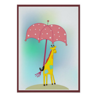 giraffe with an umbrella poster